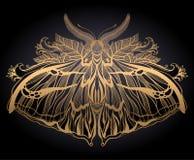Grafische illustratie met mysticusmot en geheime hand getrokken symbolen Astrologisch en esoterisch vrijmetselarijconcept Oude wi stock fotografie