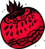 Grafische illustratie van rijpe rode granaat Stock Foto