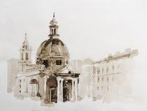 Grafische illustratie van Rome affiche Duotone stock illustratie