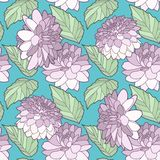 Grafische Illustration Blumendahlien- oder Rosen-Blumen mit nahtlosem Pastellmuster der Blätter auf Knickentenhintergrund lizenzfreie abbildung