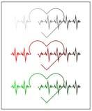 Grafische Illustration des Kardiogramms oder des Kardiographen Elektrokardiogramm in Schwarzweiss--, im Rot und im Grün Herzfrequ Lizenzfreie Stockbilder