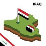 Grafische isometrische Karte der Informationen und Flagge vom IRAK isometrische Illustration des Vektors 3d vektor abbildung