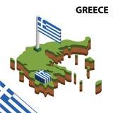Grafische isometrische Karte der Informationen und Flagge von GRIECHENLAND isometrische Illustration des Vektors 3d lizenzfreie abbildung
