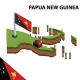 Grafische isometrische Karte der Informationen und Flagge von PAPUA-NEU-GUINEA isometrische Illustration des Vektors 3d lizenzfreie abbildung