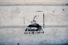 Grafische Kunst GESPRÄCH IST an der Wand der Landseite in Amerika BILLIG Amerika ein Kontinent in dem amerikanisches hauptsächlic stockfotos