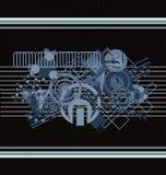 Grafische Kunst im Blau und im Braun Stockbild