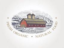 Grafische Landschaft mit Bauernhof lizenzfreie abbildung