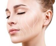 Grafische lijnen die gezichts het opheffen effect op huid tonen royalty-vrije stock foto