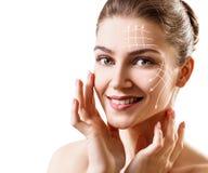 Grafische lijnen die gezichts het opheffen effect op huid tonen royalty-vrije stock afbeeldingen
