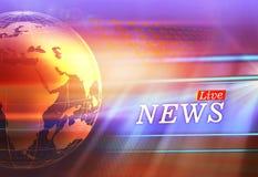 Grafische Live News Background With Earth-Kugel auf linker Seite Lizenzfreie Stockbilder