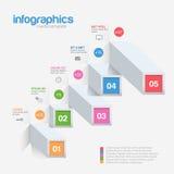 Grafische malplaatje van Infographic 3d blokken Stock Foto