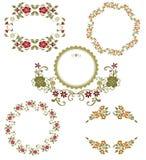 Grafische mit Blumenansammlung der Weinlese Lizenzfreie Stockfotos
