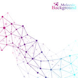 Grafische molecule en mededeling als achtergrond Kleurrijke Punten met verbindingen voor uw ontwerp Vector illustratie Stock Afbeeldingen