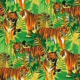 Grafische nahtlose Muster von den Tigern in den verschiedenen Haltungen umgeben durch exotische Blätter lizenzfreie abbildung