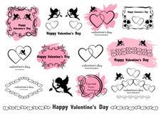 Grafische ontwerpelementen De Liefde van uitstekend die Valentine in vector wordt geplaatst vector illustratie