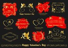 Grafische ontwerpelementen De Liefde van uitstekend die Valentine in vector wordt geplaatst stock illustratie