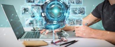 Grafische ontwerper die futuristische de camera 3D rende gebruiken van de hommelveiligheid Stock Foto's