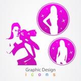 Grafische ontwerpfotograaf en modelpictogram Royalty-vrije Stock Foto's