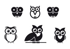 Grafische ontworpen uilen Stock Foto