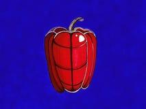 Grafische peper op een blauwe achtergrond Royalty-vrije Stock Foto