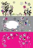 Grafische reeks met bloemen Stock Afbeelding