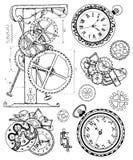 Grafische reeks met uitstekend klokmechanisme in steampunkstijl Royalty-vrije Stock Foto's