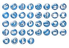 Grafische reispictogrammen op blauwe cirkel stock illustratie