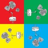 Grafische rozen in ewer royalty-vrije illustratie