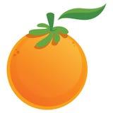 Grafische saftige frische orange Frucht der Karikatur mit grünem Blatt Stockfotografie