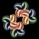 Grafische samenstelling met kleuren spiraalvormige elementen op zwarte backg Stock Afbeelding