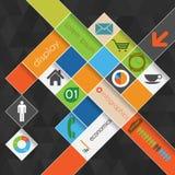 Grafische Schablone der modernen abstrakten Informationen mit Platz  Stockfotografie
