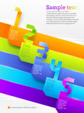 Grafische Schablone mit Papier nummerierten Fahnen Stockfoto
