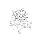 Grafische schets van lotuses in ornament op een witte achtergrond Stock Afbeeldingen