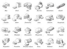 Grafische schets van verschillende kazen Stock Afbeelding