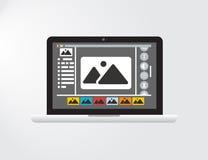 Grafische Schnittstelle oder GUI eines vorgestellten Fotos, das Software redigiert Stockfotografie