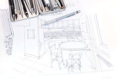Grafische Skizze des Kücheninnenraums und Möbel entwerfen Esprit Stockfoto