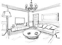 Grafische Skizze eines Innenwohnzimmers Stockbilder