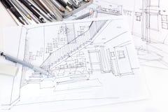 Grafische Skizzen des Wohnzimmerinnenraums und des Möbel bluepri Stockfotos