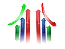 Grafische Stäbe mit Pfeil Stockbild