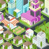 Grafische stad die onroerende goederenhuis en cityscape architectuur bouwen stock illustratie