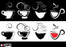 Grafische stomende koffiekoppen Stock Afbeelding