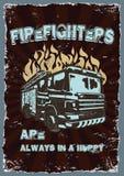 Grafische tekeningen Uitstekende affiche met brandweerlieden royalty-vrije illustratie