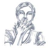 Grafische vector hand-drawn illustratie van wit huid geïmponeerd l vector illustratie