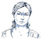 Grafische vector hand-drawn illustratie van witte huid boze dame royalty-vrije illustratie