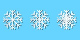 Grafische vectorreeks document besnoeiingssneeuwvlokken; de sneeuw van de Witboekkunst royalty-vrije stock afbeelding