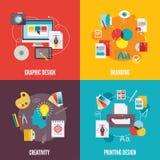 Grafische vlakke ontwerppictogrammen Stock Afbeeldingen