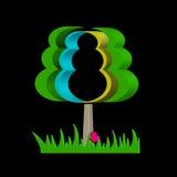 Grafischer abstrakter Baum auf einem schwarzen Hintergrund Stockbild