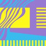 Grafischer abstrakter Hintergrund Gelbe, blaue und violette Farben stock abbildung