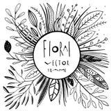 Grafischer Blumenvektorrahmen Lizenzfreie Stockfotografie