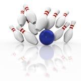 Grafischer Bowlingspielschlag auf weißem Hintergrund Stockfotos